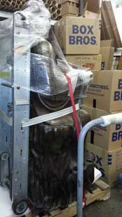 400 lb. Bronze Buddha getting packed for shipment to China