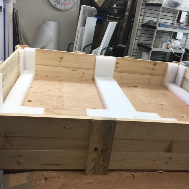 crates are built withmaximum  strength/weight in mind and  fabricated in house