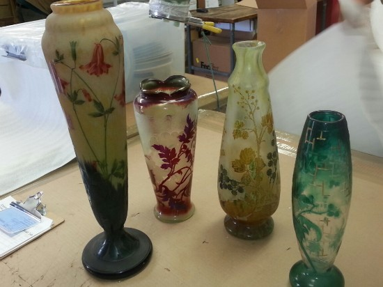 We specialize in packing and shipping delicate art and glass like these Daum vases