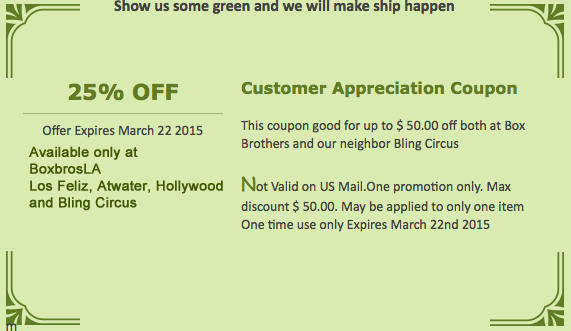 St. Patrick's Day savings coupon on shipping packing, and supplies