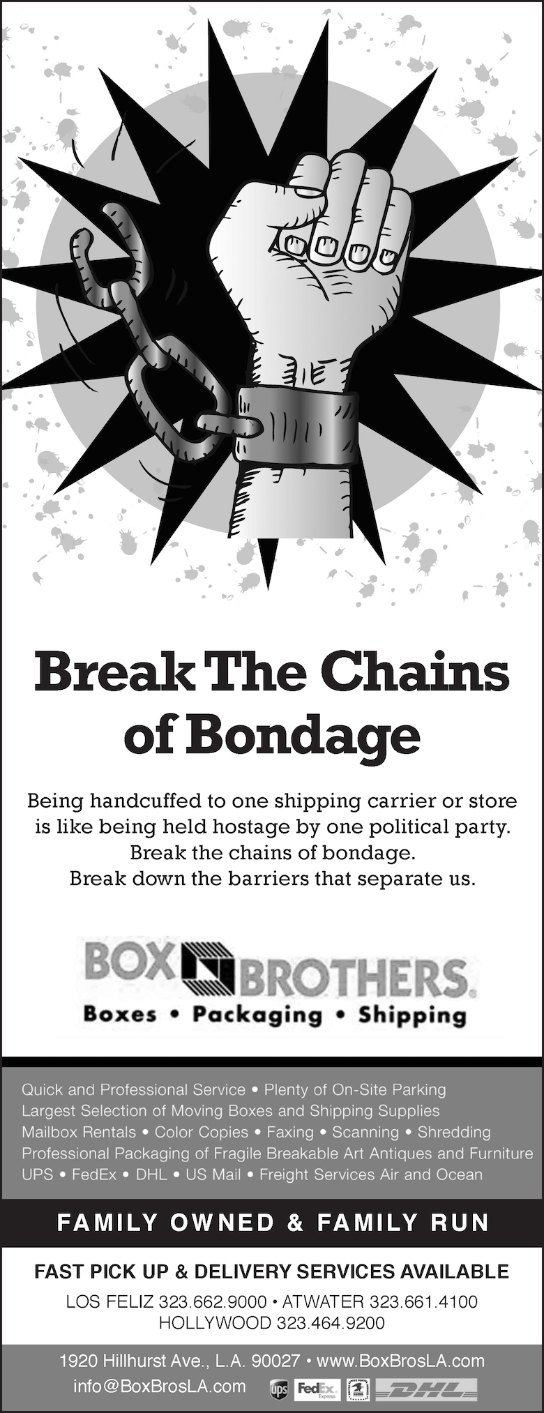 Box Bros LA ad in local paper